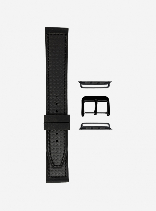 Elite silicone and faux-leather carbon fiber pattern watchband suitable for Apple Watch • 392-APL