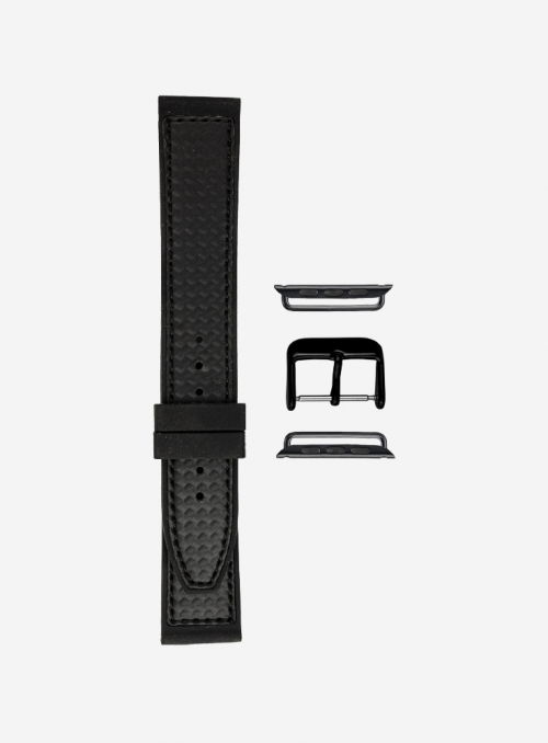 Elite silicone and faux-leather carbon fiber pattern watchband for Apple Watch • 392-APL