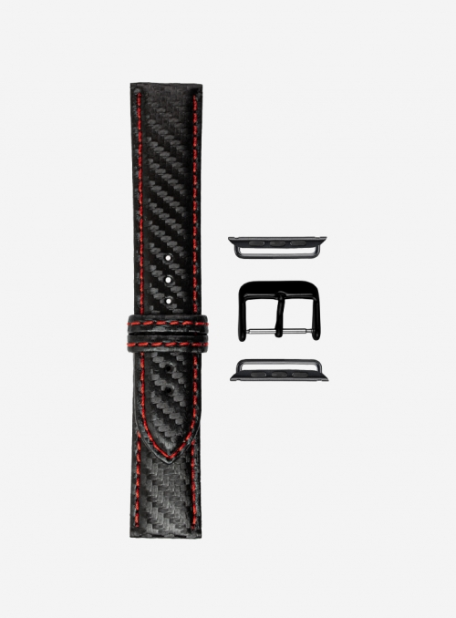 Diving • Carbon fiber grained calf leather watchstrap for Apple Watch