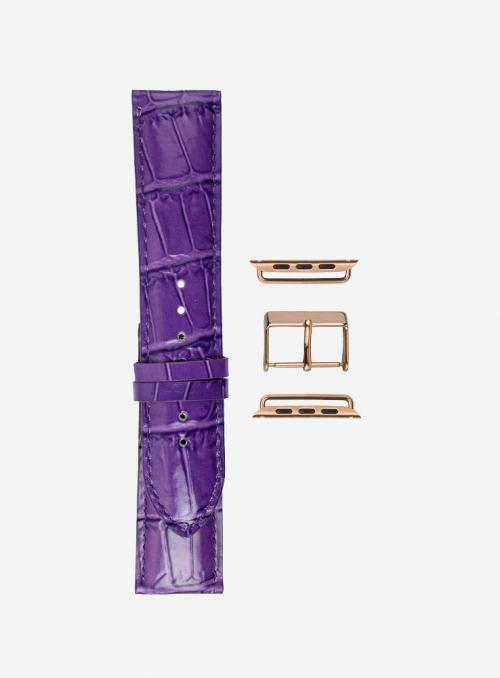 Antigua • Cinturino Apple Watch in vitello stampa antigua lucido • Pelle Italiana