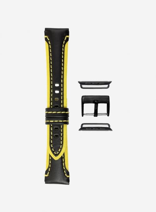 Cinturino compatibile Apple Watch in cuoio cosmos e cordura waterproof • 730-APL