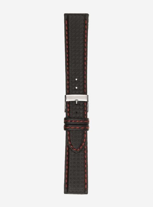 Carbon fiber grained calf leather watchstrap • Italian leather • 861